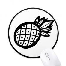 Black Pineapple Line Drawing Fruit Round Non-Slip Mousepads Black Stitched Edges Game Office Gift