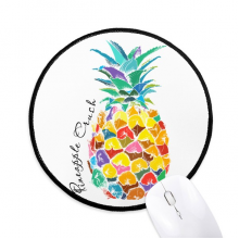 Watercolor Pineapple Tropical Fruit Round Non-Slip Mousepads Black Stitched Edges Game Office Gift