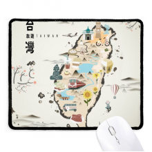 Map Taiwan Travel Features Non-Slip Mousepad Game Office Black Stitched Edges Gift