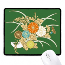 Autumn Japanese Yellow Flower Non-Slip Mousepad Game Office Black Titched Edges Gift
