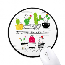 Succulents Potted Plant Cactus Round Non-Slip Mousepads Black Stitched Edges Game Office Gift