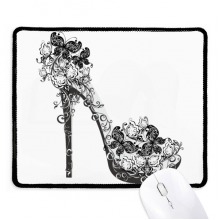 High Heels Shoes Flower Butterfly Pattern Non-Slip Mousepad Game Office Black Stitched Edges Gift