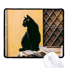 Animal Cool Black Cat Photograph Non-Slip Mousepad Game Office Black Titched Edges Gift
