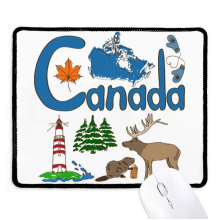 Canada National symbol Landmark  Pattern Non-Slip Mousepad Game Office Black Stitched Edges Gift