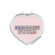 Flush Suit Mahjong Tiles Heart Compact Makeup Mirror Portable Cute Hand Pocket Mirrors Gift