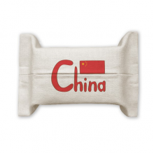 China Chinese National Flag Red Pattern Cotton Linen Tissue Paper Cover Holder Storage Container Gift