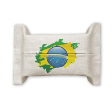 Brazil Flag Culture Element Map Cotton Linen Tissue Paper Cover Holder Storage Container Gift