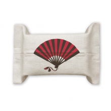 Japanese Red Black Fan Cotton Linen Tissue Paper Cover Holder Storage Container Gift