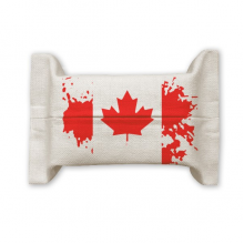 Canada Flavor Flag and Maple Leaf Cotton Linen Tissue Paper Cover Holder Storage Container Gift