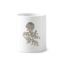 Flower Plant Black White Chrysanthemum Toothbrush Pen Holder Mug White Ceramic Cup 12oz