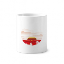 Red Flag Tiananmen Mountain Fog Toothbrush Pen Holder Mug White Ceramic Cup 12oz