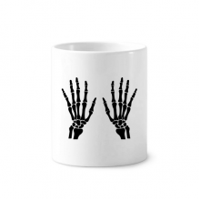 Skeleton Bone Human Hand Black Pattern Toothbrush Pen Holder Mug White Ceramic Cup 12oz