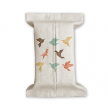 Colorful Bird Abstract Origami Pattern Tissue Paper Cover Cotton Linen Holder Storage Container Gift