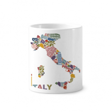 Map Italy  Landmark National Flag Architecture Toothbrush Pen Holder Mug White Ceramic Cup 12oz