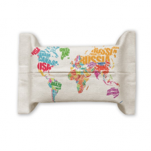 Mutlicolour World Map Countries Name  Tissue Paper Cover Holder Cotton Linen Bag