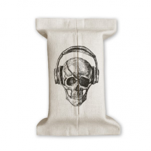 Skull Headset Music Crazy Pattern Tissue Paper Cover Cotton Linen Holder Storage Container Gift