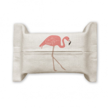 Walking Flamingo Pattern Pink Cotton Linen Tissue Paper Cover Holder Storage Container Gift