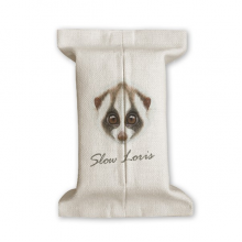 Big-eyed White Brown Loris Animal Tissue Paper Cover Cotton Linen Holder Storage Container Gift