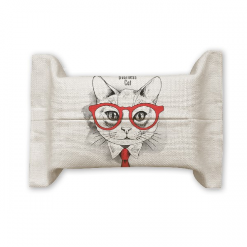 Bussiness Cat Head Protect Animal Pet Lover  Tissue Paper Cover Holder Cotton Linen Bag