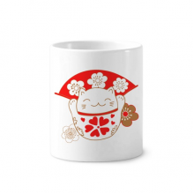 Cherry Blossoms Lucky Fortune Cat Japan Toothbrush Pen Holder Mug Ceramic Stand Pencil Cup