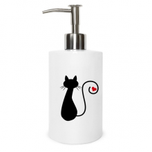 Heart Cat Sit Sihouette Animal Metal Soap Lotion Dispenser Bathroom Kitchen Home Gift