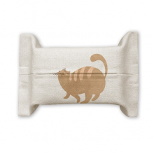 Brown Fat Cat Animal Watercolor Cotton Linen Tissue Paper Cover Holder Storage Container Gift