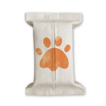 Orange Paw Print Cat Footprint Animal Tissue Paper Cover Cotton Linen Holder Storage Container Gift