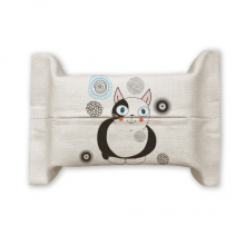 Animal Cute Fat Cat smile Cotton Linen Tissue Paper Cover Holder Storage Container Gift