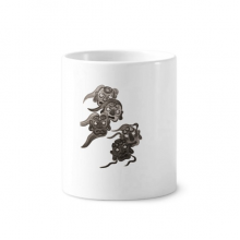 Chinese Ink Style Five Goblins Monster Toothbrush Pen Holder Mug Ceramic Stand Pencil Cup