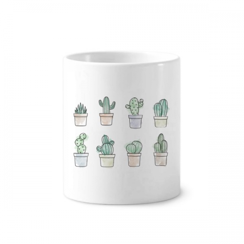 Succulents Pattern Cactus Potted Plant Illustration Toothbrush Pen Holder Mug White Ceramic Cup 12oz
