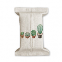 Succulents Cactus Potted Plant Illustration Tissue Paper Cover Cotton Linen Holder Storage Container Gift
