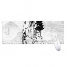 Dao Religion China Ink Ppriest Non-Slip Mousepad Large Extended Game Office titched Edges Mat Gift