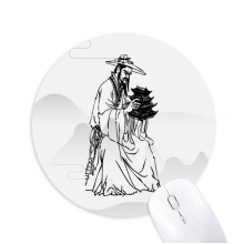Dao Religion China Ink Ppriest Round Non-Slip Rubber Mousepad Game Office Mouse Pad Gift