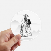 Dao Religion China Ink Ppriest Round Stickers 10cm Wall Suitcase Laptop Motobike Decal 8pcs