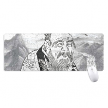 Dao Religion China Ink Painting Non-Slip Mousepad Large Extended Game Office titched Edges Mat Gift