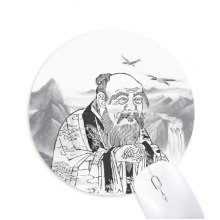 Dao Religion China Ink Painting Round Non-Slip Rubber Mousepad Game Office Mouse Pad Gift