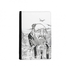 Dao Religion China Ink Painting Passpord Holder Travel Wallet Cover Case Card Purse Gifts