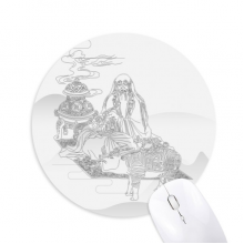 Dao Religion China Cattle Lao Tzu Round Non-Slip Rubber Mousepad Game Office Mouse Pad Gift