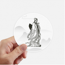 Dao Religion China Zhuge Liang Round Stickers 10cm Wall Suitcase Laptop Motobike Decal 8pcs