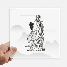 Dao Religion China Zhuge Liang Square Stickers 20cm Wall Suitcase Laptop Motobike Decal 4pcs