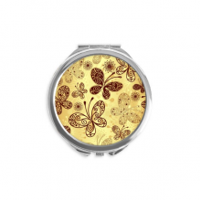 Yellow Butterfly Wallpaper Hand Compact Mirror Round Portable Pocket Glass