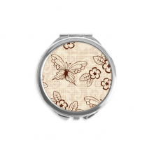 Vintage Simple Brown Butterfly with Flowers Hand Compact Mirror Round Portable Pocket Glass