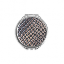 Skin Leather Abstract Design Hand Compact Mirror Round Portable Pocket Glass