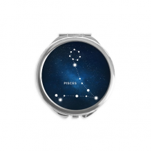 Pisces Constellation Zodiac Sign Hand Compact Mirror Round Portable Pocket Glass