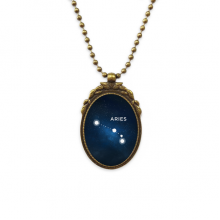 Aries Constellation Zodiac Sign Antique Brass Necklace Vintage Pendant Jewelry Deluxe Gift