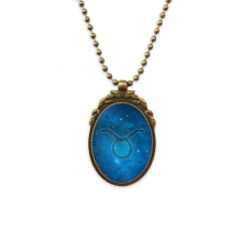 Starry Night Taurus Zodiac Constellation Antique Brass Necklace Vintage Pendant Jewelry Deluxe Gift