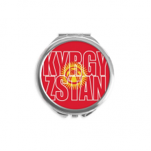 Kyrgyzstan Country Flag Name Hand Compact Mirror Round Portable Pocket Glass