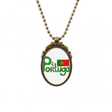 Portugal National Flag Green Pattern Antique Necklace Vintage Bead Pendant Keychain