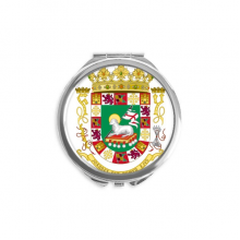 Puerto Rico National Emblem Hand Compact Mirror Round Portable Pocket Glass