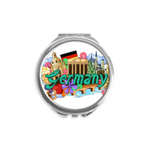 New Swan Stone Castle Beer Germany Graffiti Hand Compact Mirror Round Portable Pocket Glass
